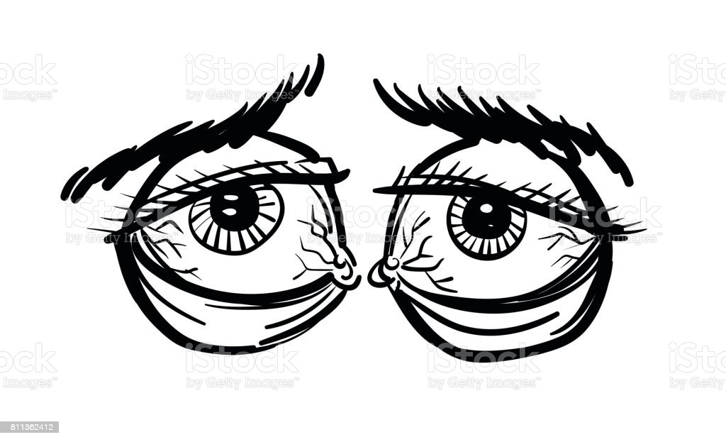 Cartoon Image Of Tired Eyes Stock Vector Art & More Images ...