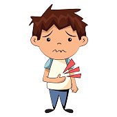 Cartoon image of young boy with a stomach ache