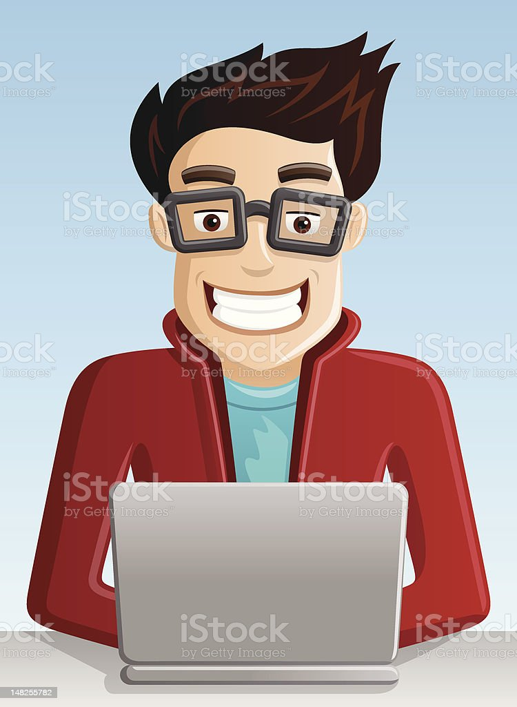 Cartoon image of young man on computer  royalty-free stock vector art