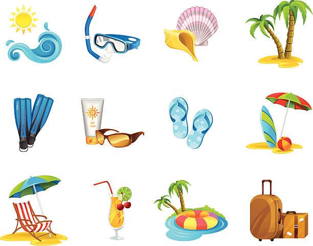 urlaub icon-set - sonnenstuhl stock-grafiken, -clipart, -cartoons und -symbole