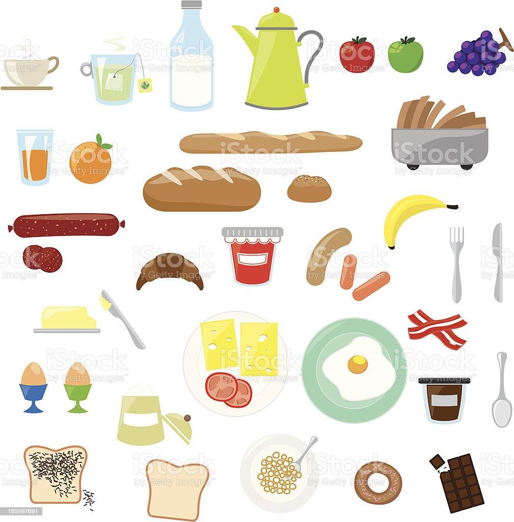 Cartoon images of breakfast foods