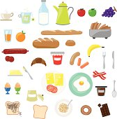 istock Cartoon images of breakfast foods 165597691