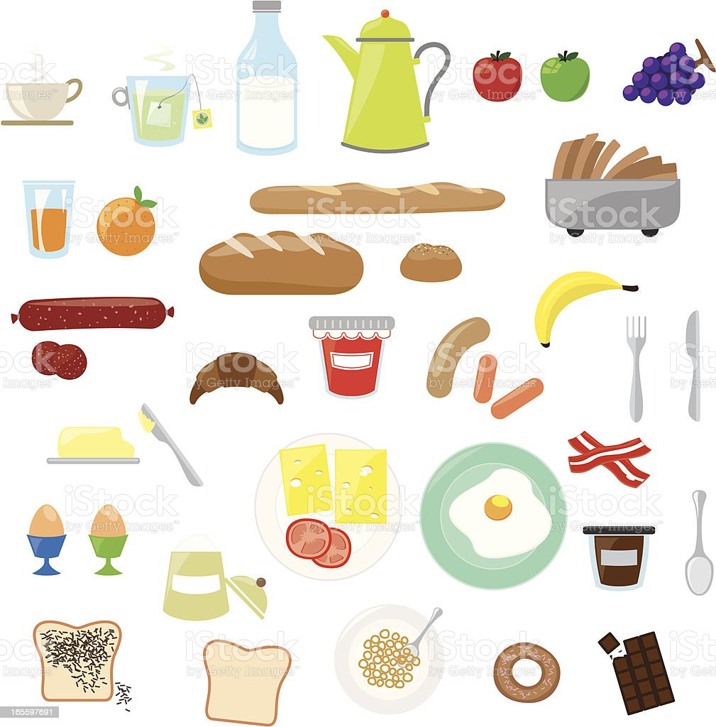 Cartoon images of breakfast foods vector art illustration