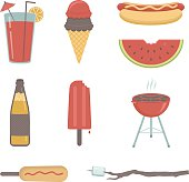 A collection of summer food and beverage related icons and images. Includes a JPG and EPS of each separate item.