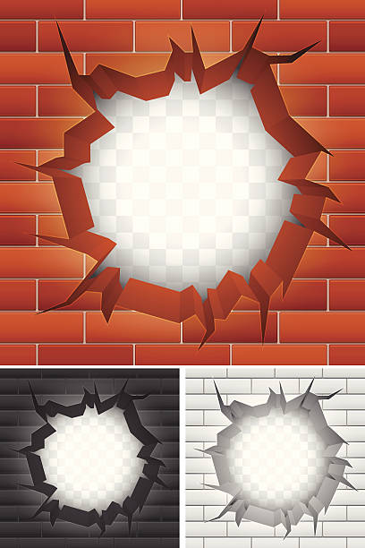 Cartoon images of cracks in different colored brick walls vector art illustration