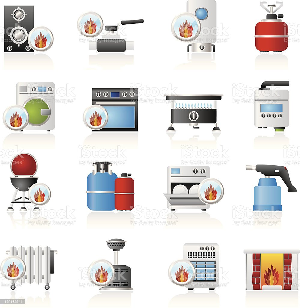Cartoon images of gas appliances vector art illustration