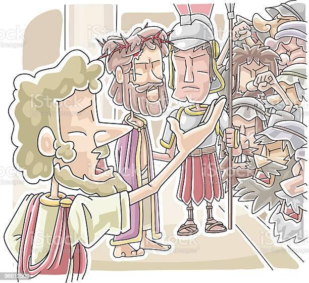 Cartoon Images Of Jesus And The Knights Speaking To A Crowd-vektorgrafik och fler bilder på ClipArt