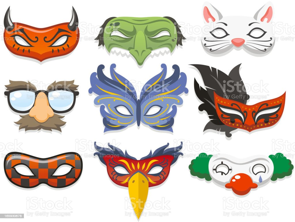 Cartoon images of masquerade masks royalty-free stock vector art