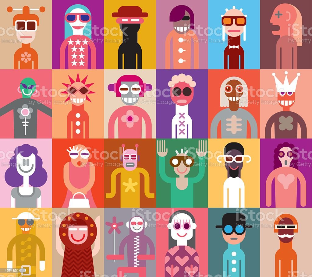 Cartoon images of people in a colorful vector set vector art illustration