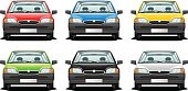 Cartoon images of the same car in six different colors
