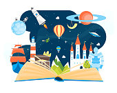 Cartoon Imagination Concept Open Book Element Flat Design Style Include of Rocket, Sky, Balloon and Star. Vector illustration