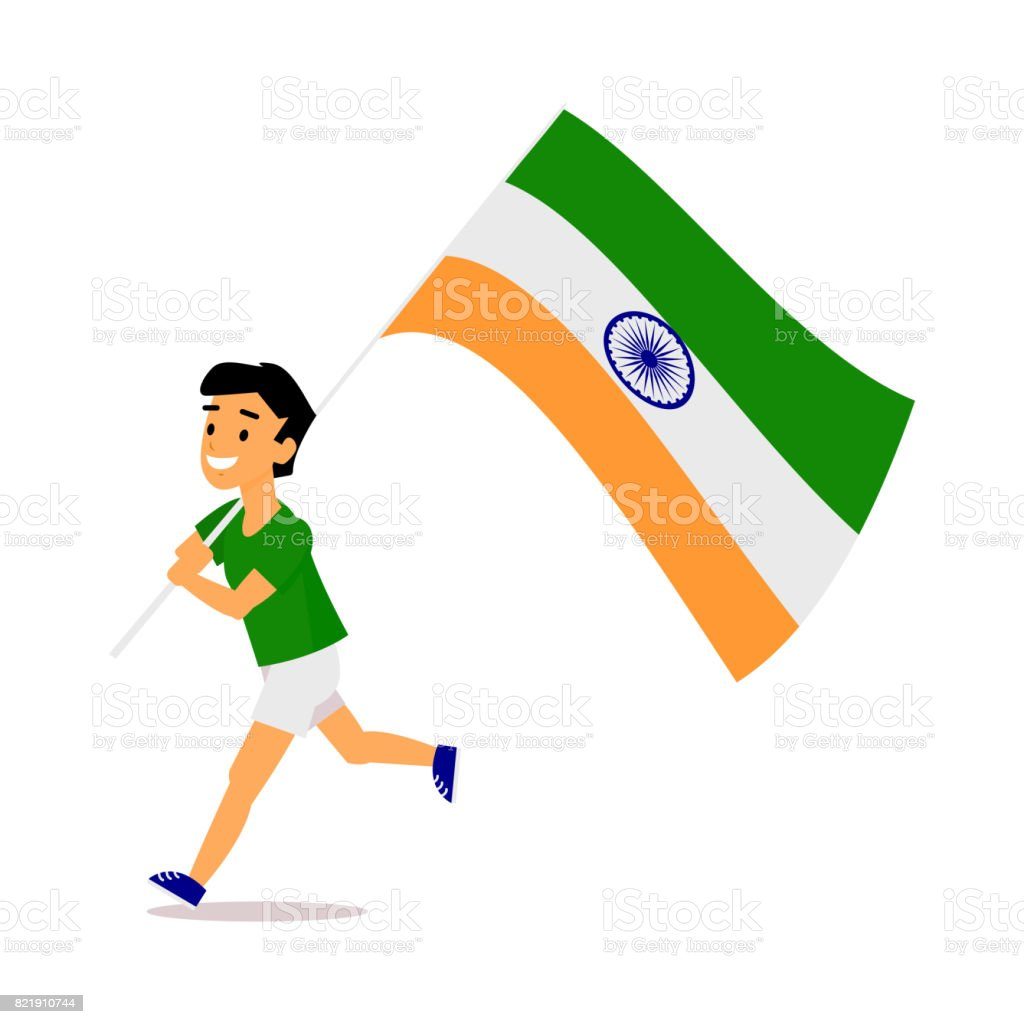 Cartoon Indian boy running with big Indian flag vector art illustration