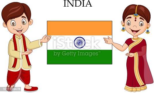 istock Cartoon Indian couple wearing traditional costume 1011169478