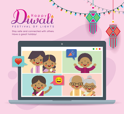 Cartoon Indian people video calling with family via laptop clipart