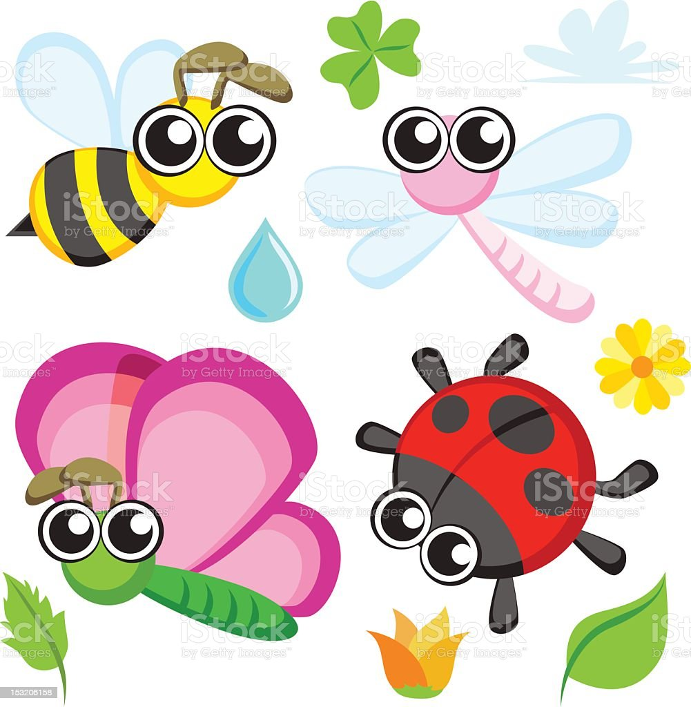 Cartoon insect collection royalty-free stock vector art