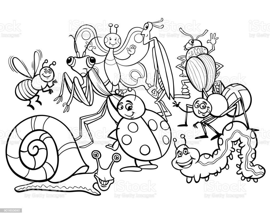 漫画の昆虫動物キャラクター塗り絵 - おとぎ話のベクターアート素材や