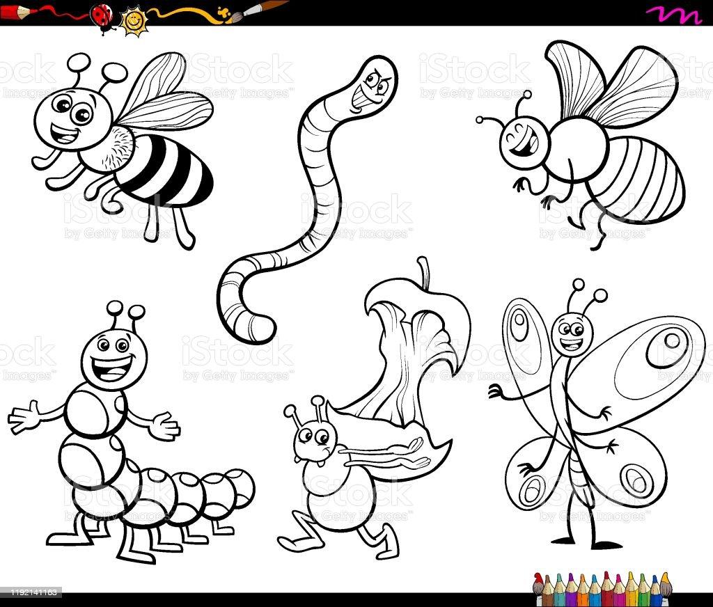 Vetores De Personagens De Desenhos Animados Colorindo Pagina Do