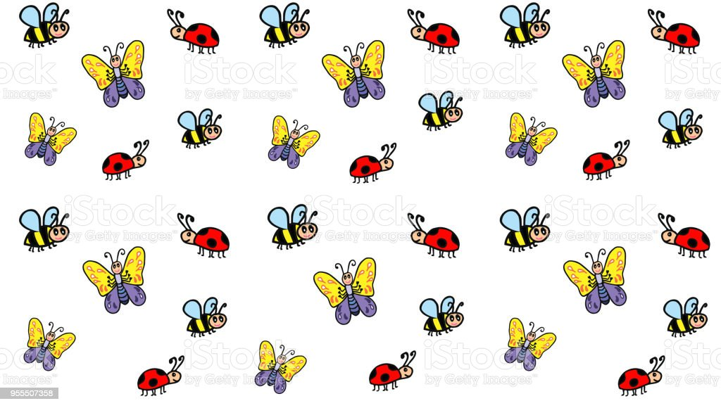 Ilustración de Dibujos Animados Patrón Infantil De Insectos Una ...