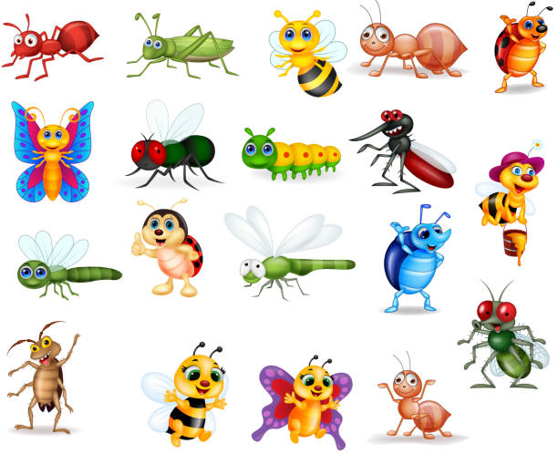 cartoon insects collection set - bugs stock illustrations, clip art, cartoons, & icons