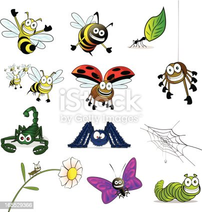 Fully editable vector illustration of a collection of cartoon insects.