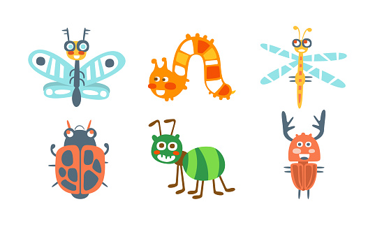 Cartoon Insects with Ladybug and Butterfly Vector Set