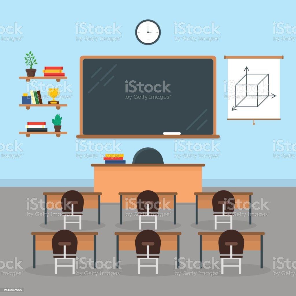 Cartoon Interior Classroom School or University with Furniture. Vector vector art illustration