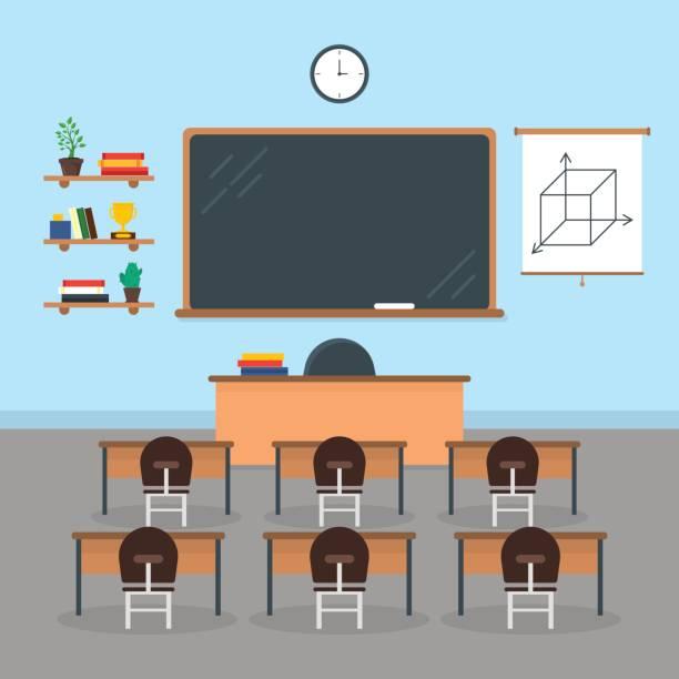 bildbanksillustrationer, clip art samt tecknat material och ikoner med cartoon interiör klassrummet skola eller universitet med möbler. vektor - klassrum