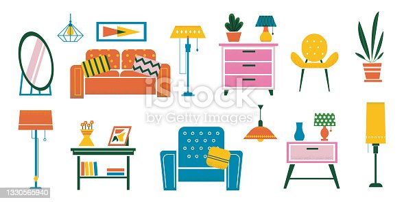 Cartoon interior furniture. Doodle plants and desks. Chairs or soft sofa. Floor and table lamps, chandelier and sconce. Flowerpots on bright commode. Vector house coziness design set