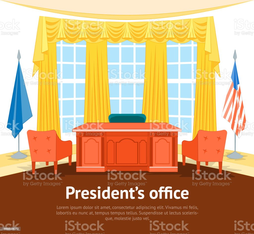 Cartoon Interior President Government Office Card Poster with Furniture. Vector vector art illustration