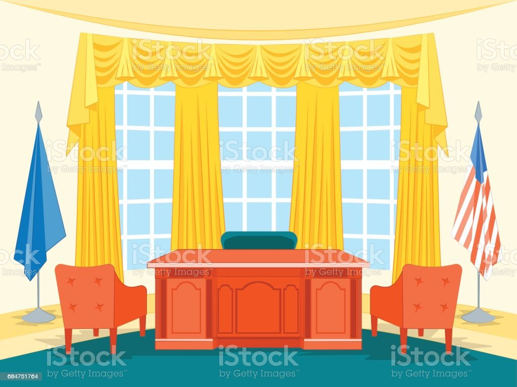 Cartoon Interior President Government Office with Furniture. Vector