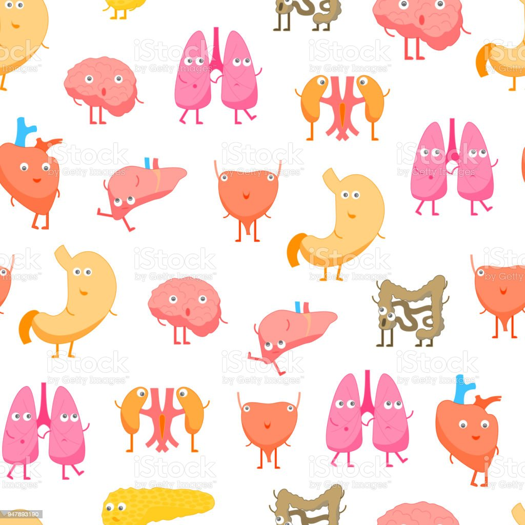 Cartoon Internal Organs Funny Emotions Seamless Pattern Background ...