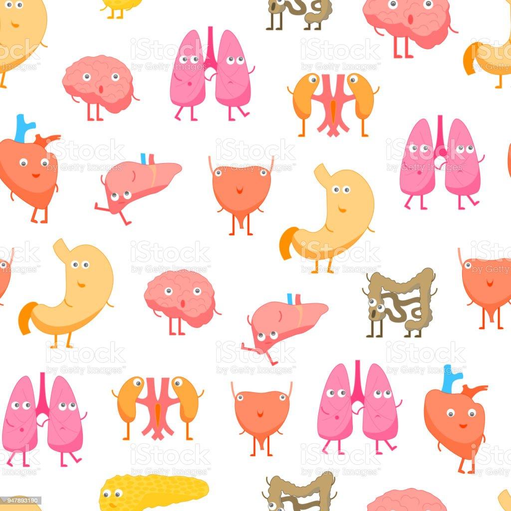 Cartoon Internal Organs Funny Emotions Seamless Pattern Background. Vector vector art illustration