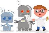 Cartoon inventor with robots