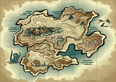 Cartoon island map template for next level game - adventures, treasure hunt. Pirate map with octopus, scorpion, sharks, snake, scull. Hand drawn vector illustration, vintage background