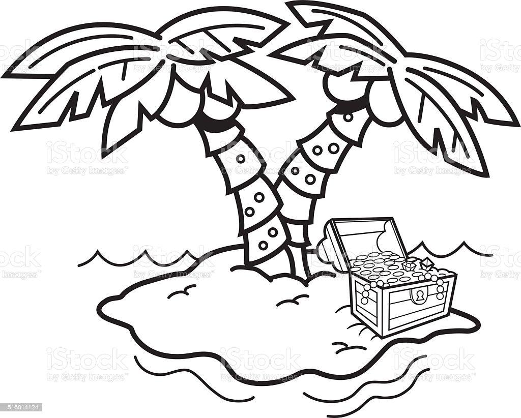 ilustração de desenho de ilha com palmeiras e um baú do tesouro e