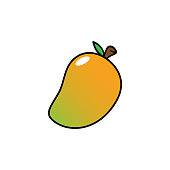 Cartoon Isolated Mango Vector Illustration