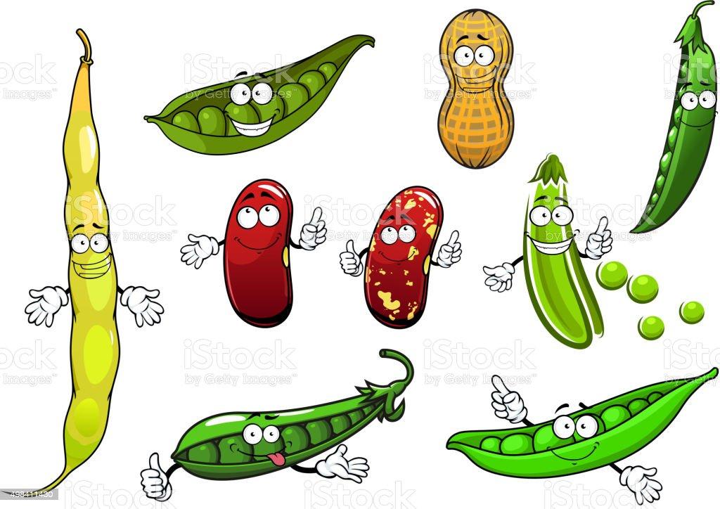 Cartoon isolated peas, beans and peanut vector art illustration