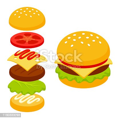 Isometric burger icon with ingredient layers. Classic fast food sandwich vector illustration in simple flat cartoon style.