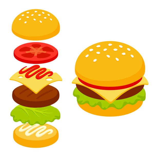 stockillustraties, clipart, cartoons en iconen met cartoon isometrische burger icoon - hamburgers