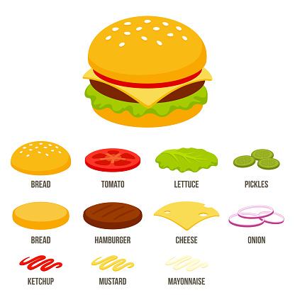 Cartoon isometric burger icon