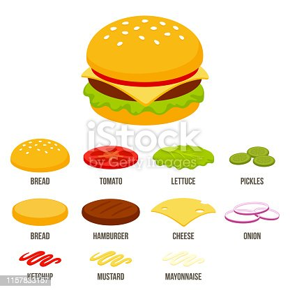 Isometric burger constructor set with different ingredients. Fast food sandwich vector illustration in simple flat cartoon style.