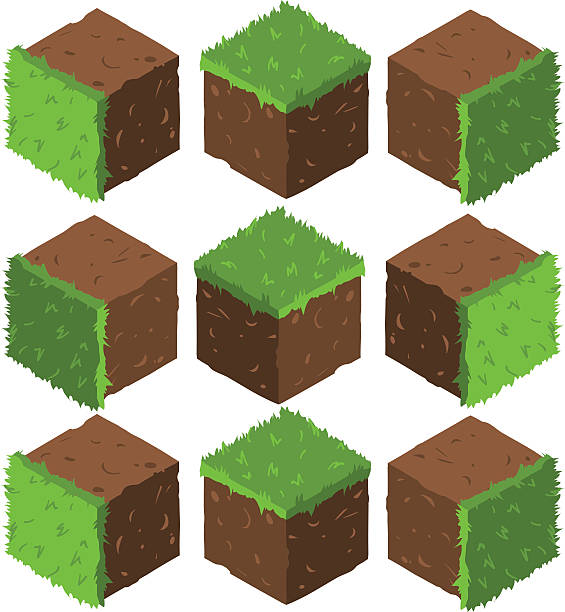 Cartoon Isometric grass and rock stone game brick cube. vector art illustration