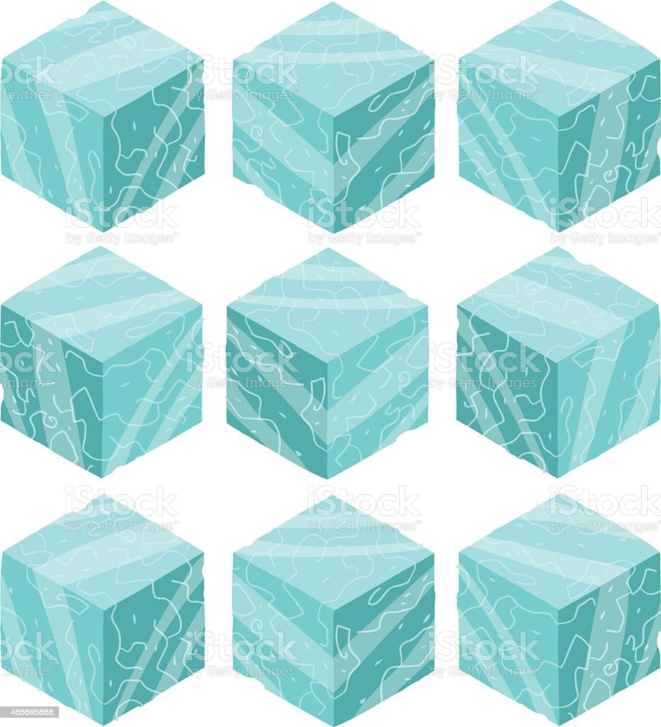 Cartoon Isometric ice game brick cubes set. vector art illustration