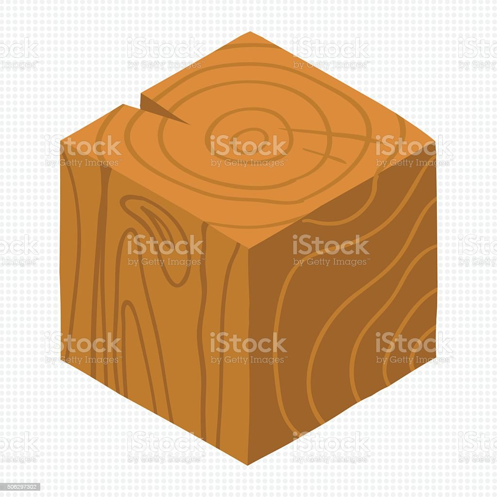 Cartoon Isometric wood game brick cube. vector art illustration