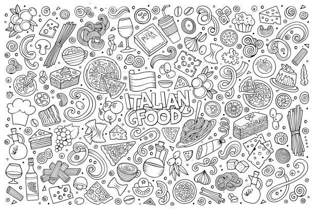 cartoon italienisches essen objekte festlegen - risotto stock-grafiken, -clipart, -cartoons und -symbole