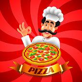 Cartoon italian pizza chef on red background vector illustration