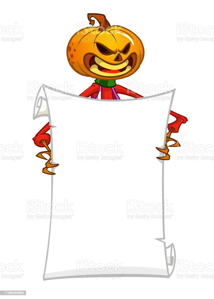 Halloween cartoon scarecrow with pumpkin head holding blank empty...