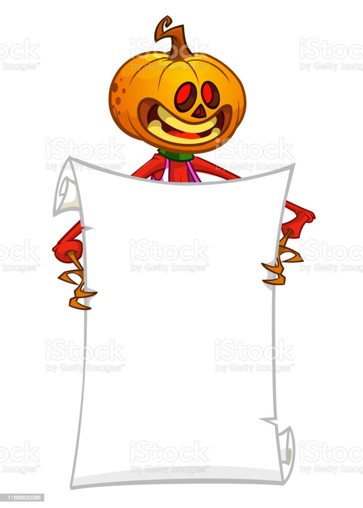 Cartoon jack o lantern pumpkin head holding blank empty scroll paper...