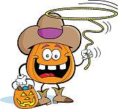 Cartoon jack o latern dressed as a cowboy.