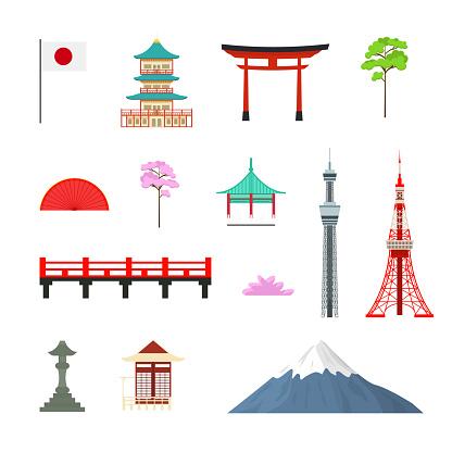 Cartoon Japan Travel Signs Icon Set. Vector